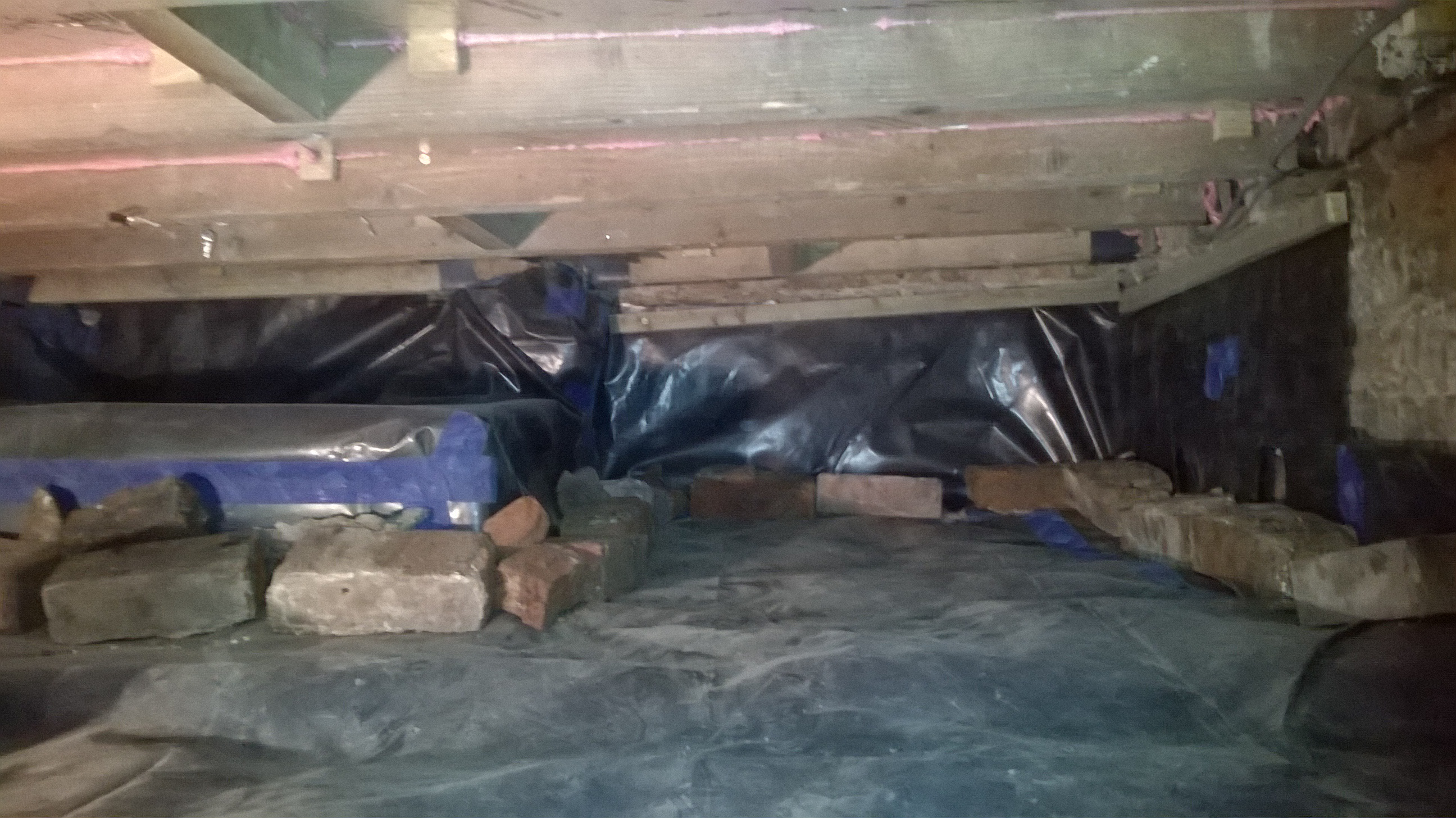 Floor joists in crawl space finally drying out coldproof for Crawl space concrete floor
