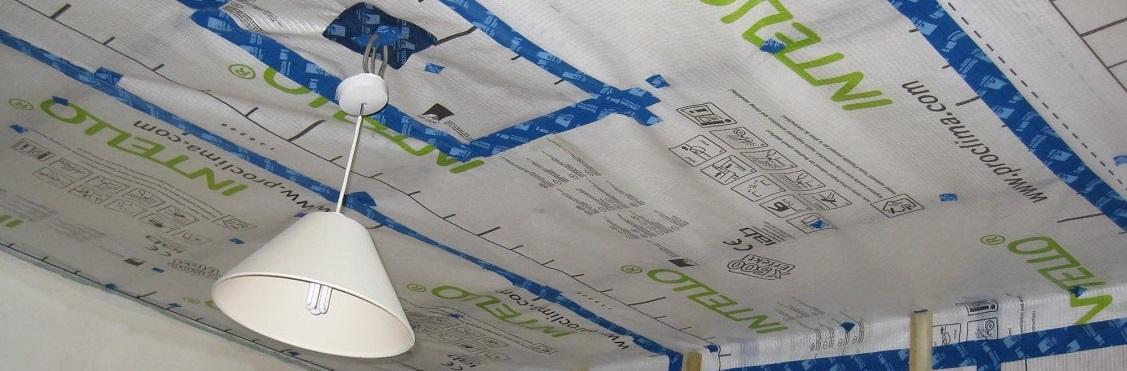 Airtightness membrane on ceiling